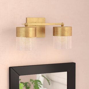 Ozella 2-Light Vanity Light with Clear Seeded Glass By Everly Quinn