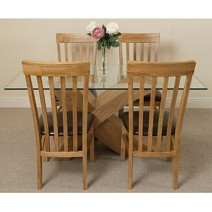 Ediz   Oak Dining Set With 4 Chairs By Ebern Designs
