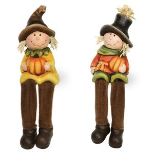 Pumpkin Patch Shelf Scarecrow Figurine (Set of 2)
