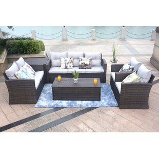 Baptist 6 Piece Rattan Sofa Set with Cushions
