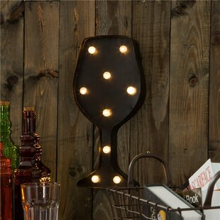 Marquee Led Lighted Wine Gl Wall Décor