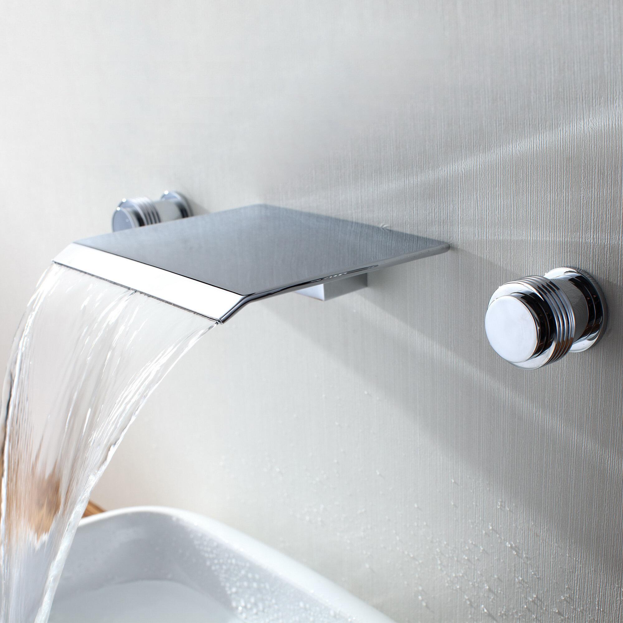 Sumerain Wall Mount Waterfall Bathroom Sink Faucet Reviews Wayfair