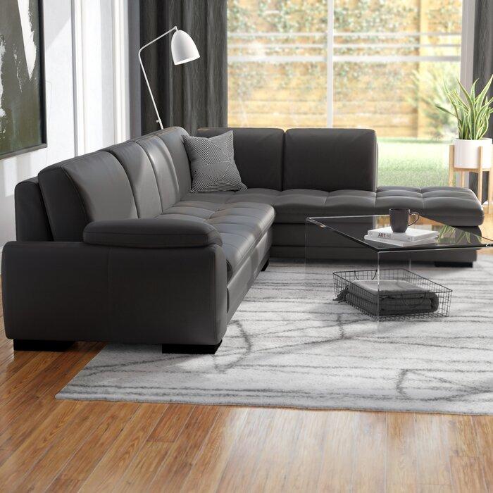 Tremendous Jerald Leather Sectional Machost Co Dining Chair Design Ideas Machostcouk
