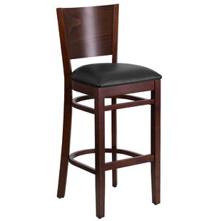 Harriet Solid Back Wood 32 Bar Stool Red Barrel Studio