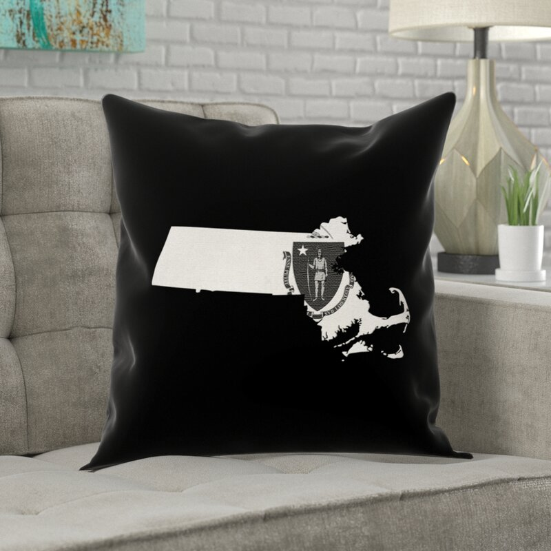 Ivy Bronx Mendell Massachusetts Flag Black Pillow In Faux Suede Double Sided Print Throw Pillow Wayfair