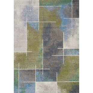 Mucklen Soft Sponge Watercolour Gray/Green Area Rug by Latitude Run
