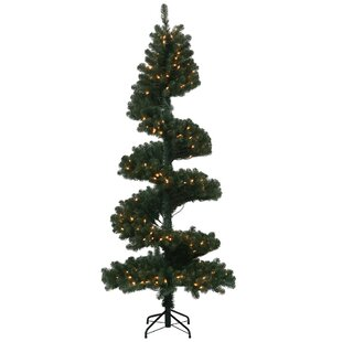 7 green spiral pine artificial tree with 300 dura lit clearwhite lights with stand