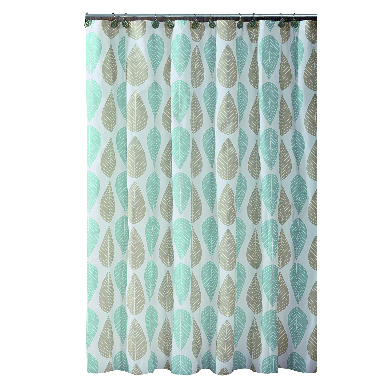 Ebern Designs Belville Leaf Design PEVA Shower Curtain Reviews