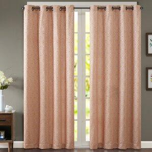 Ambrosius Geometric Semi Sheer Grommet Single Curtain Panel
