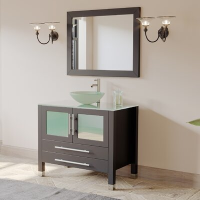 Brayden Studio Meserve Solid Wood Glass Vessel 36 Single Bathroom Vanity Set with Mirror