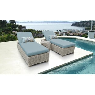 Coast Reclining Chaise Lounge with Cushion and Table (Set of 2)
