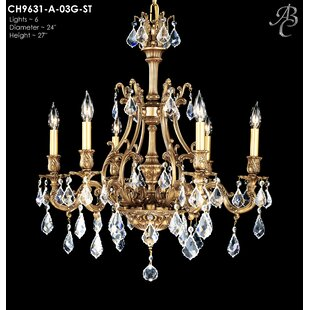 American Brass & Crystal Chateau 6-Light Candle Style Chandelier