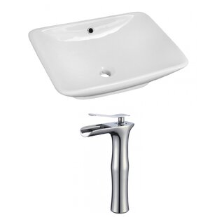 Bargain Above Counter Ceramic Rectangular Vessel Bathroom Sink with Faucet and Overflow By Royal Purple Bath Kitchen