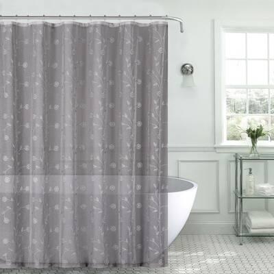 78fddea21a8 Mirtha Metallic Daisy Embroidered Sheer Shower Curtain Set