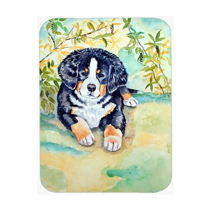 East Urban Home Bernese Mountain Dog Puppy Glass Cutting Board