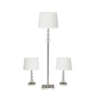 Adesso Classic 3 Piece Table and Floor Lamp Set