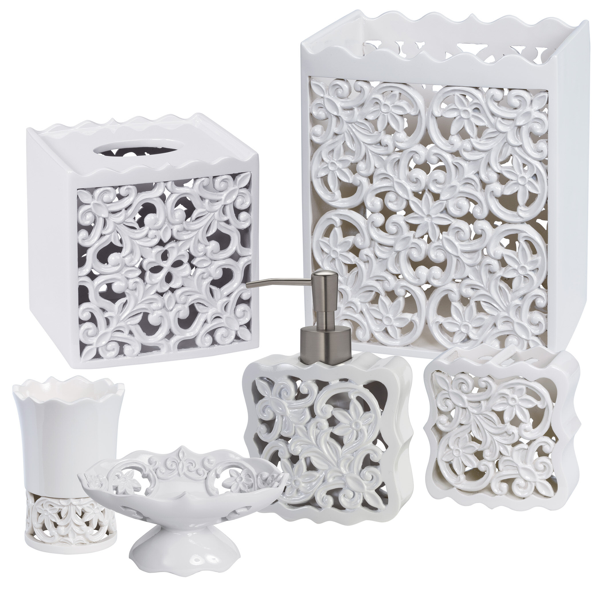 6 PC SET 3D VICTORIAN WHITE+GOLD DISPENSER+TISSUE+TRASH CAN+DISH+TUMBLER+TOOTHBR