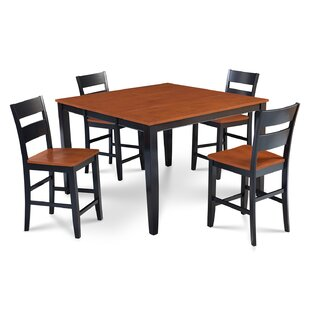 Charlestown 5 Piece Counter Height Solid Wood Dining Set Alcott Hill