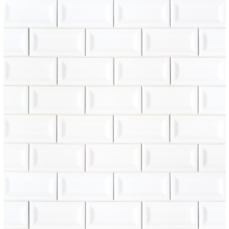 "Verted Beveled 3"" x 6"" Ceramic Subway Tile in Glossy White"