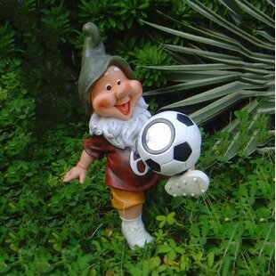 Sintechno Solar Powered Gnome Soccer Statue