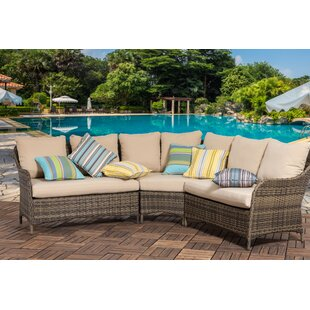 Hemphill Outdoor 3 Piece Rattan Sectional Seating Group with Cushions (Set of 3)