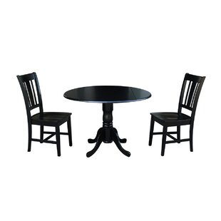 Cherokee 3 Piece Drop Leaf Solid Wood Dining Set Loon Peak