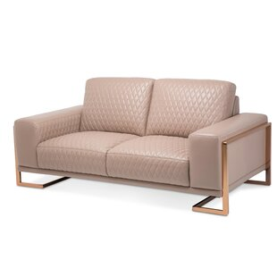 Mia Bella Gianna Leather Loveseat