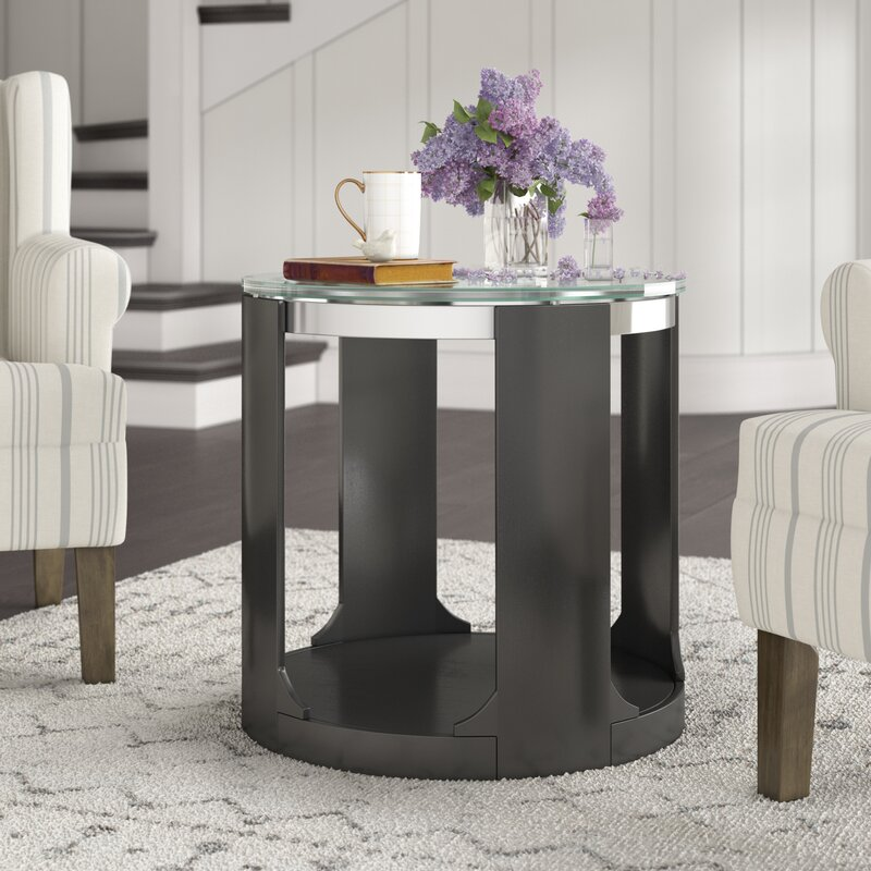 Latitude Run Charly Cracked Glass Round End Table Reviews Wayfair