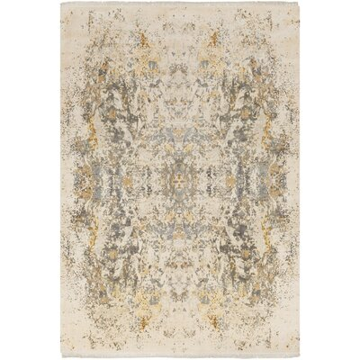 Bungalow Rose Daniella Hand-Knotted Medium Gray/Camel Area Rug Rug Size: Rectangle 9' x 13'