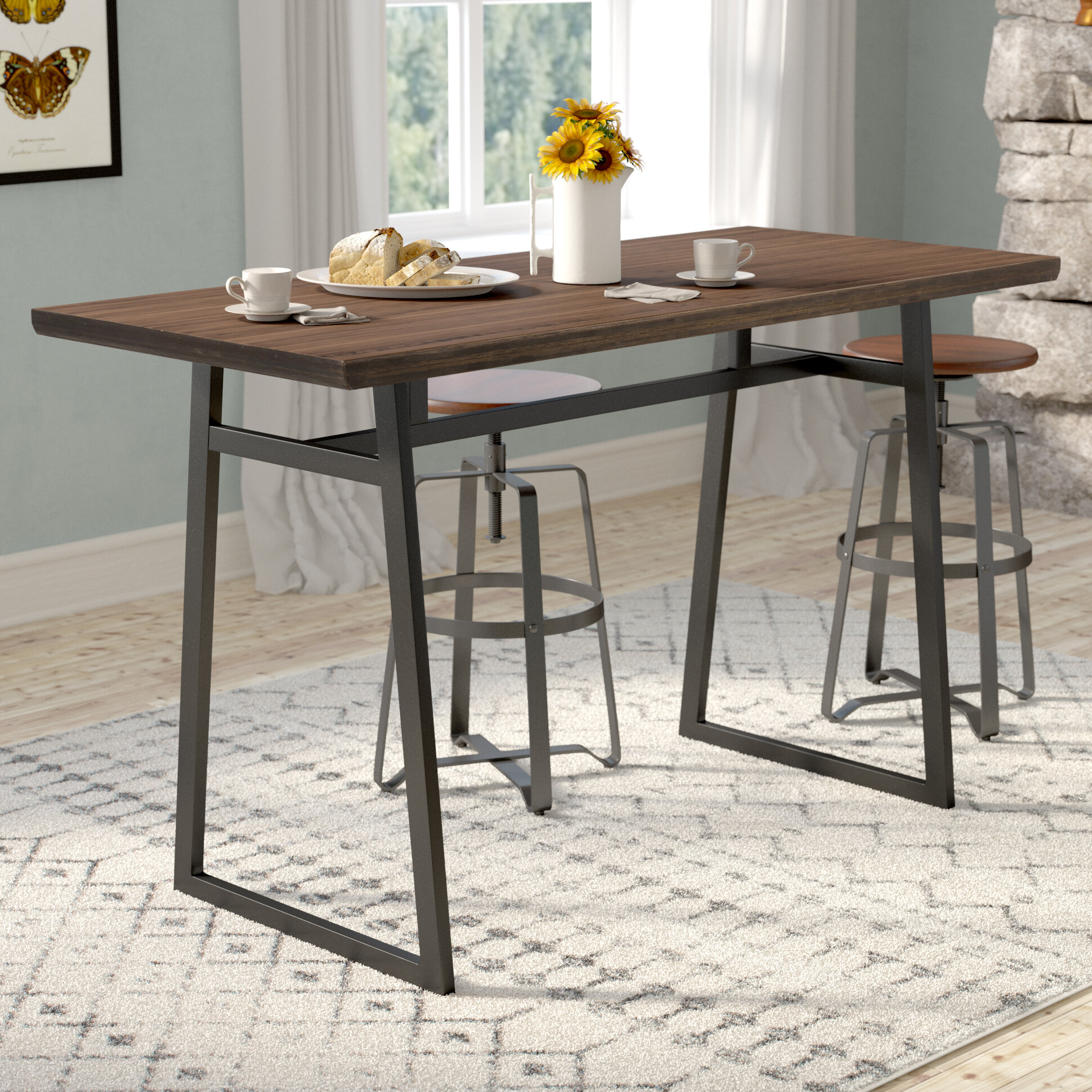 Gracie Oaks Platane Industrial Counter Height Dining Table Reviews
