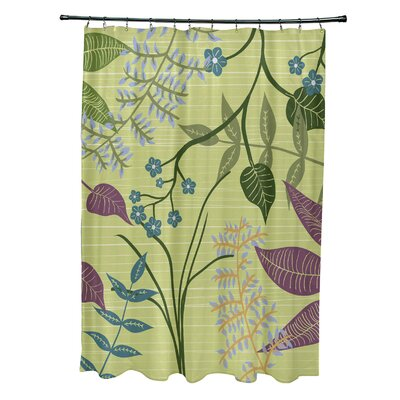Alcott Hill Orchard Lane Polyester Botanical Floral Single Shower Curtain  Color: Green