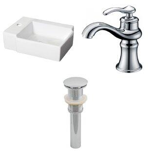 Ceramic Rectangular Bathroom Sink with Faucet