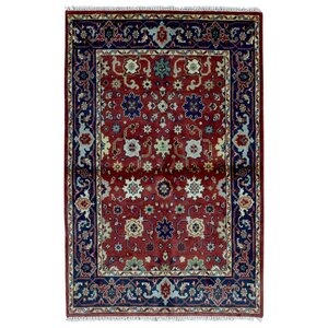 One-of-a-Kind  Rosella Oriental Hand Woven Red Area Rug