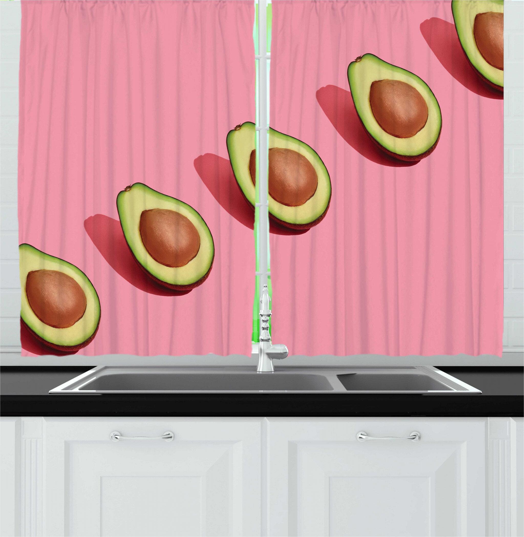 East Urban Home 2 Piece Natural Color Fruit Art Line Of Halved Fresh Avocados Kitchen Curtain Set Wayfair