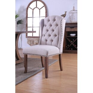 Alabaster Rustic Wingback Upholstered Dining Chair (Set of 2) Canora Grey
