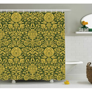 Barnstormer Victorian Baroque Flower Motifs With Swirl Petals and Branches Print Single Shower Curtain