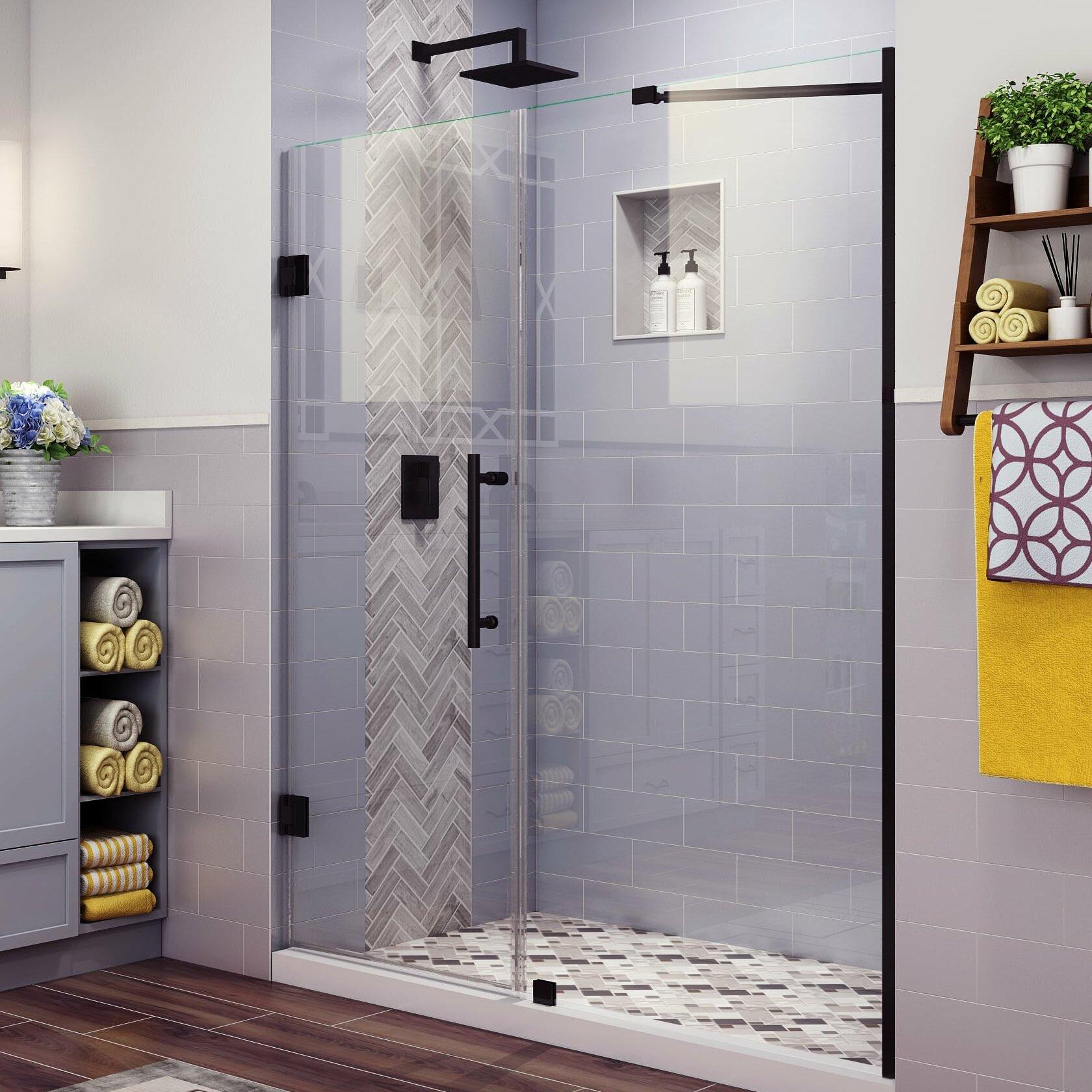 """Belmore 10.10"""" W x 10"""" H Hinged Frameless Shower Door"""
