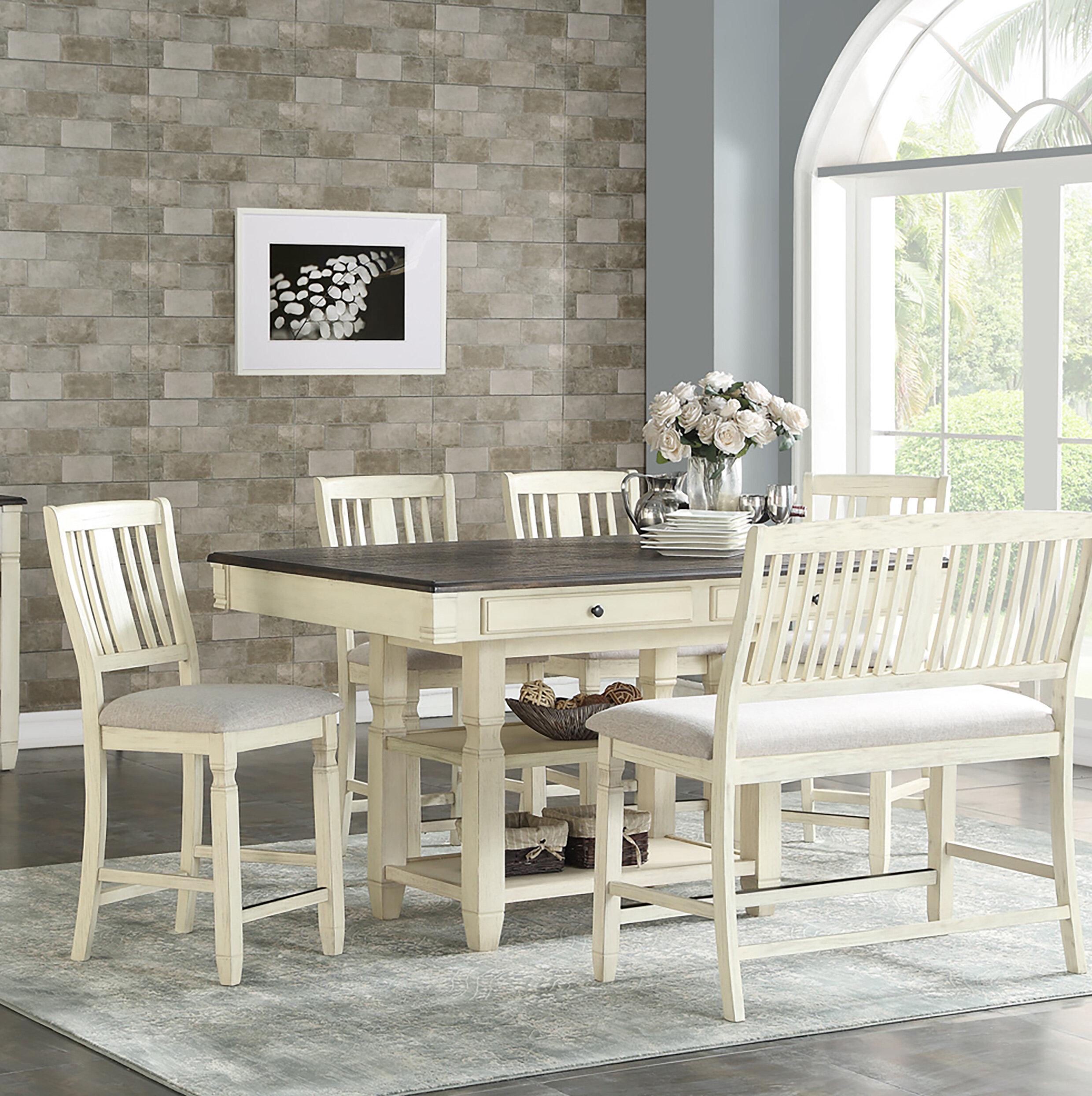 Rosalind Wheeler Elara 6 Piece Counter Height Solid Wood Dining Set Reviews Wayfair