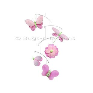 Butterfly Dragonfly Ladybug Nylon Flower Bee Mobile ByBugs-n-Blooms