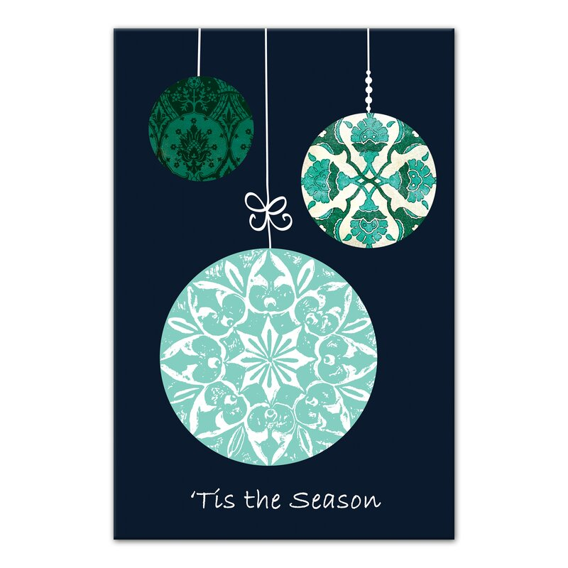 contemporary christmas ornaments graphic art print on canvas
