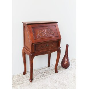 Windsor Hand Carved Wood Secretary Desk by International Caravan New