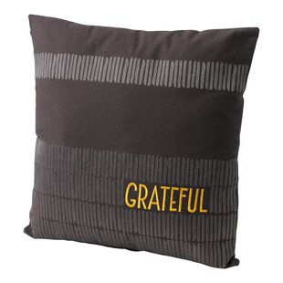 Embroidered 'Grateful' Cotton Throw Pillow