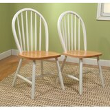 Frankford Classic Solid Wood Side Chair in White/Natural (Set of 2) by August Grove®