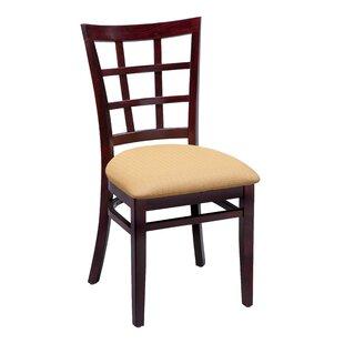 Amoroso Beechwood Lattice Back Standard Seat Upholstered Dining Chair by Red Barrel Studio
