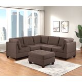 Deiontae 90 Wide Reversible Modular Corner Sectional with Ottoman by Latitude Run®