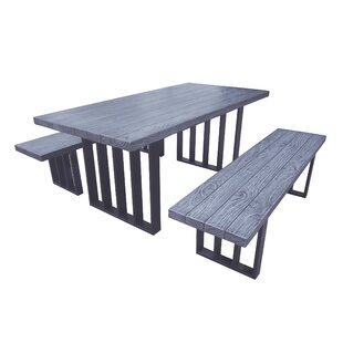Union Rustic Onion Creek Outdoor Picnic Table with 2 Benches