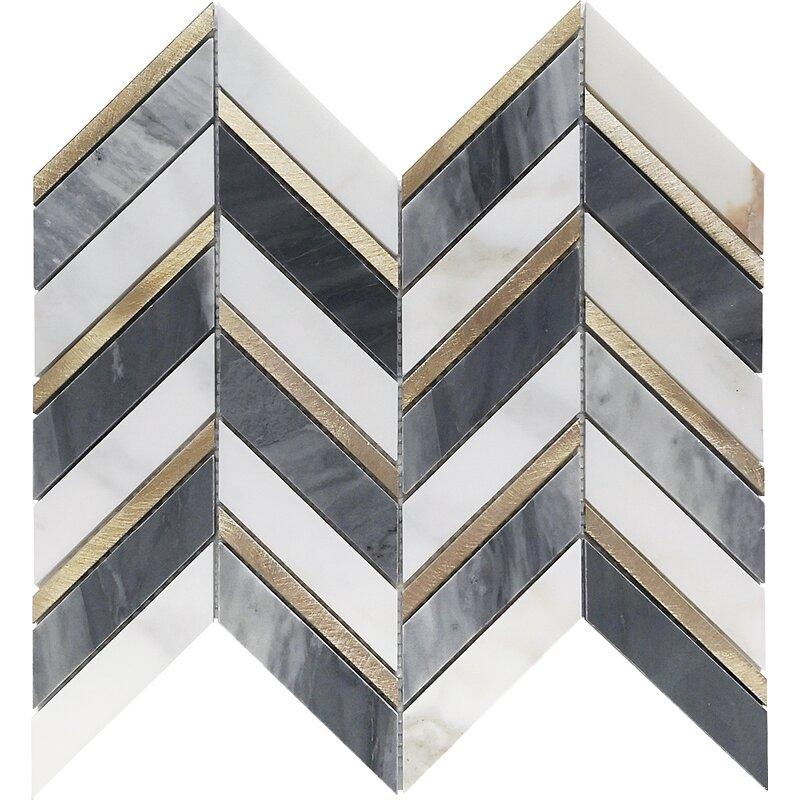Belluno Designs Stella 1 X 3 Marble Chevron Mosaic Tile Wayfair