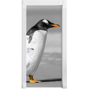 Waddling Penguin On The Beach Door Sticker By East Urban Home