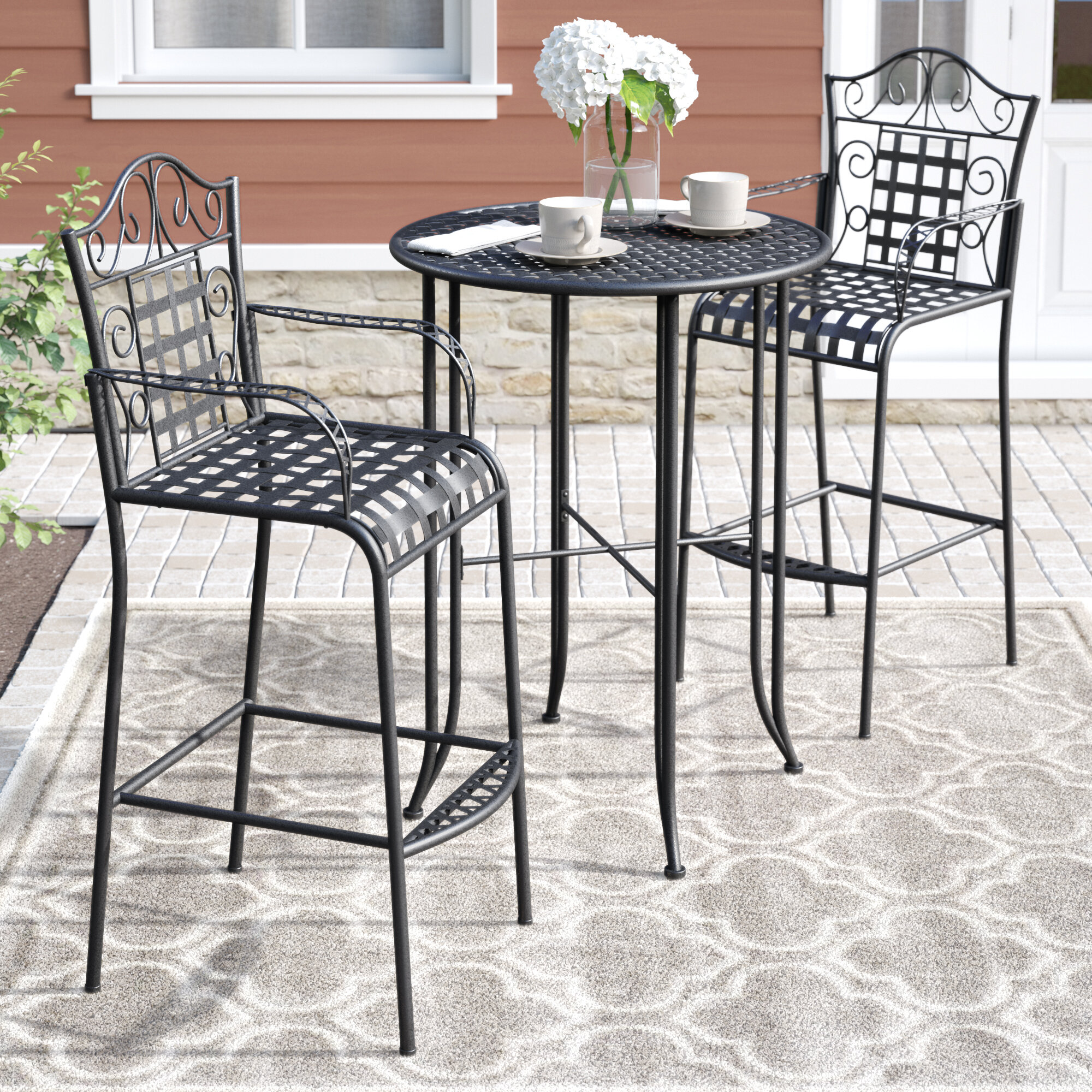 Three Posts Snowberry 3 Piece Wrought Iron Bar Height Bistro Patio Set Reviews Wayfair