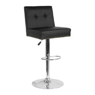 Naquin Adjustable Height Swivel Bar Stool Wrought Studio